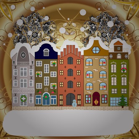 Winter village night Christmas background. Vector illustration.