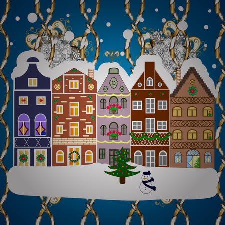Christmas landscape flat. Greeting card. Vector illustration.