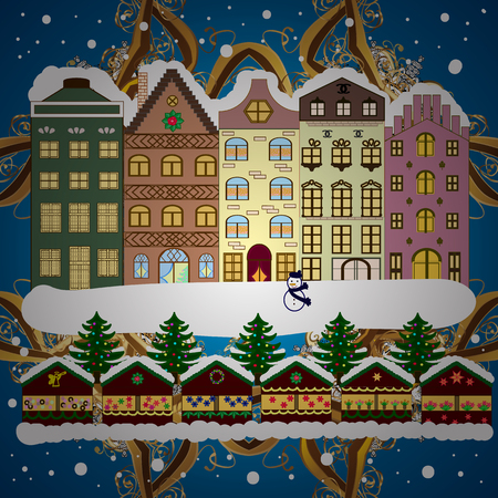 Christmas card Happy Holidays banner. Vector illustration. Flat design. Snowy street. Urban winter landscape.