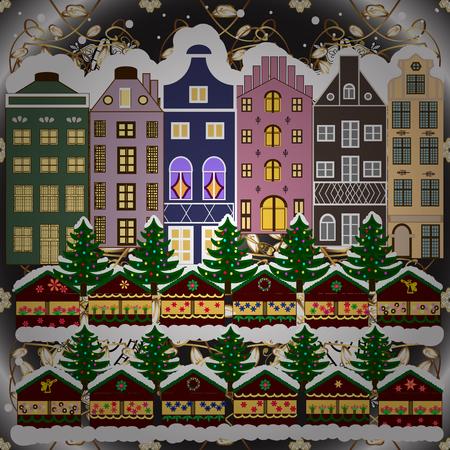 Christmas winter scene. Evening village winter landscape with snow cove houses. Background. Vector illustration. Ilustração