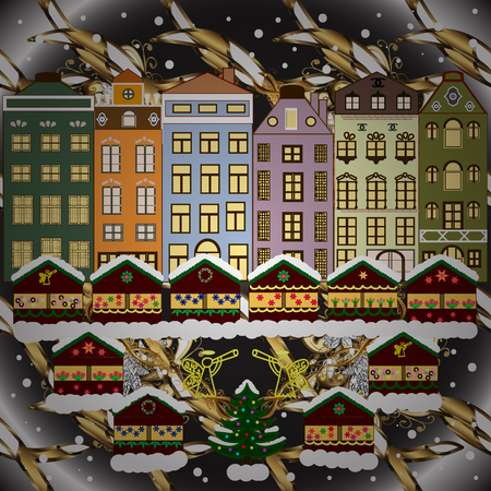 Vector illustration. Village winter landscape with snow cove houses and christmas tree with Christmas presents.