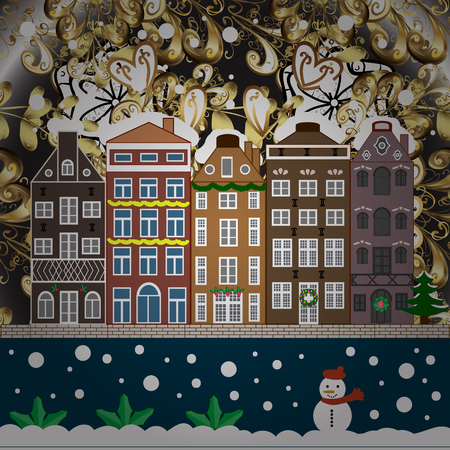 Vector illustration. Night vector Winter, Christmas urban landscape.