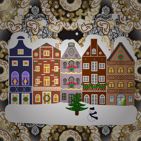 Christmas winter scene. Vector illustration. Evening village winter landscape with snow cove houses. Background. Illustration