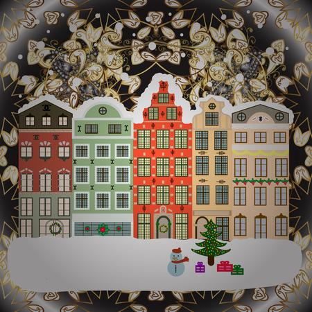 Vector illustration. paysage paysage d & # 39 ; hiver avec des maisons de neige et arbre de noël avec des arbres de noël Banque d'images - 92111028