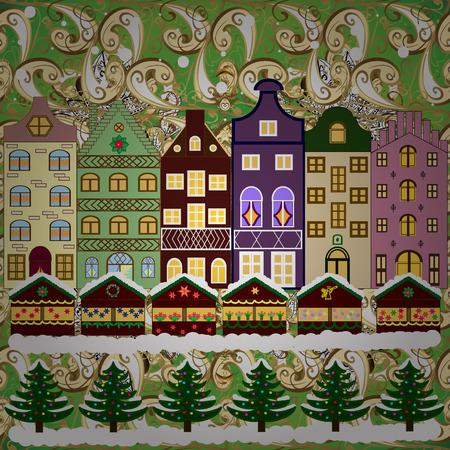 Vector illustration. Winter village night Christmas background. Illustration