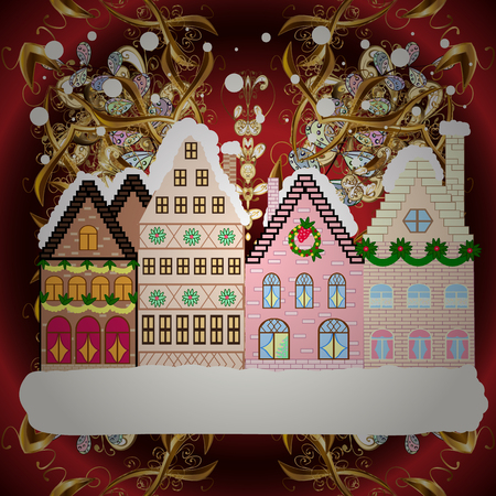 Vector illustration. Holiday background with a christmas tree and houses over a background. Ilustrace