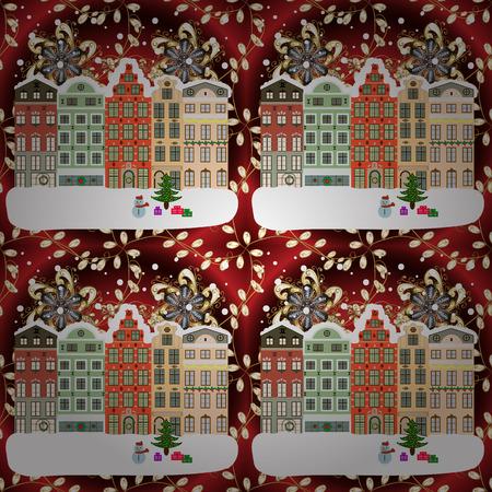 Paysage d'hiver village avec des maisons de crique des neiges et arbre de Noël avec des cadeaux de Noël. Illustration vectorielle Banque d'images - 92056926