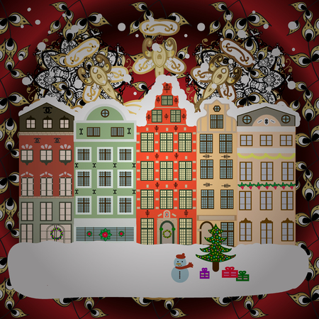 Buildings and facades. Winter day in cosy town street scene. Snowfall on Christmas eve. Vector illustration. Classic European houses landscape with Christmas holiday decorations. Vector illustration.