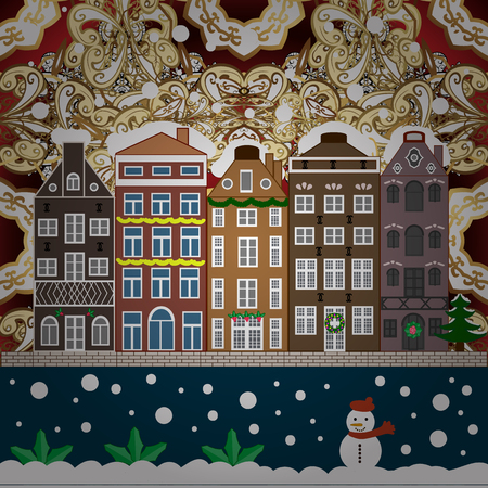 Fir-trees. Fabric print. Vector illustration. Winter nature landscape. Winter city with trees, cute houses, sun.