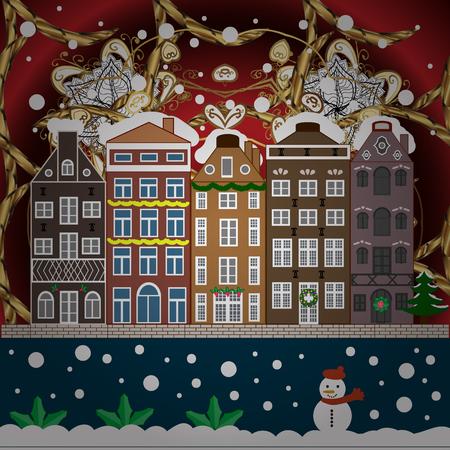 Urban winter landscape. Flat design. Christmas card Happy Holidays banner. Snowy street. Vector illustration. Illustration