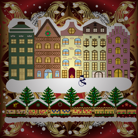 Cityscape. Winter in the city, christmas decor fir-trees. Winter houses, road, tree. Greeting card, poster design. Winter nature landscape. Cute town Christmas eve. Vector. New year holidays. Vector.