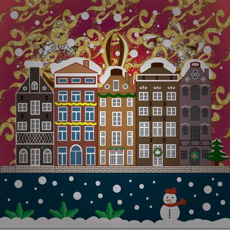 Snowy street. Flat design. Christmas card Happy Holidays banner. Urban winter landscape. Vector illustration.