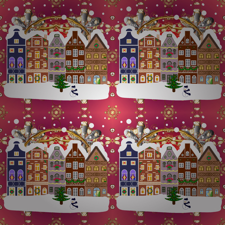 Christmas winter scene. Background. Vector illustration. Evening village winter landscape with snow cove houses.