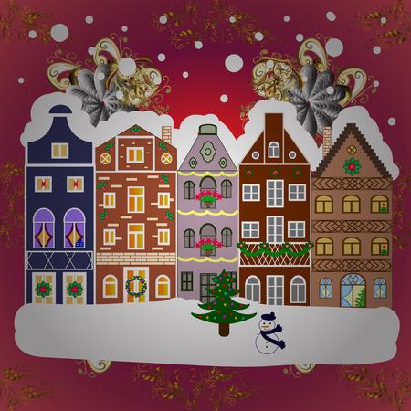 Night vector Winter, Christmas urban landscape. Vector illustration.