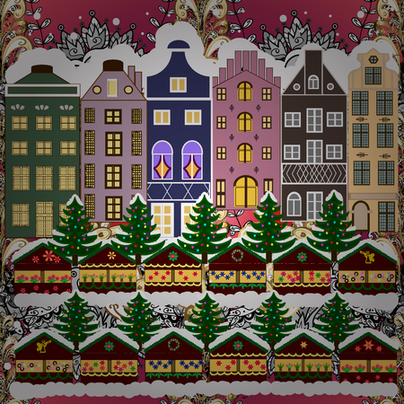 Evening city winter landscape with snow cove houses and christmas tree. Holidays Vector illustration. Vettoriali
