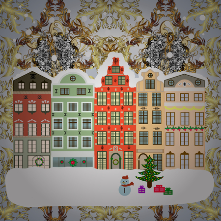 Classic European houses landscape with Christmas holiday decorations. Vector illustration. Vector illustration. Winter day in cosy town street scene. Snowfall on Christmas eve. Buildings and facades.