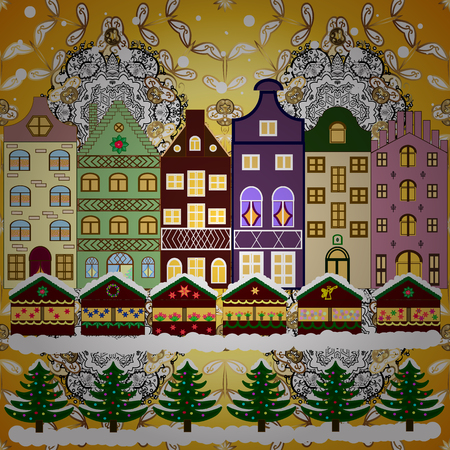 A house in a snowy Christmas landscape at night. Vector illustration. Christmas tree and snowman. Concept for greeting or postal card. Banque d'images - 92064043