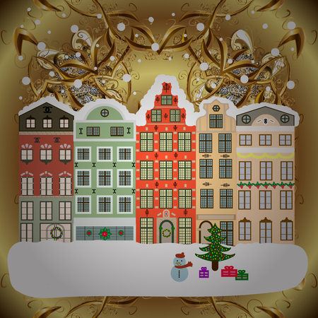 Nature landscape. Landscape with nature and houses. Holidays Vector illustration. Winter city with trees, cute houses. Over a background. Winter is coming. Vector illustration.