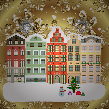 Holiday background with a christmas tree and houses over a background. Vector illustration.