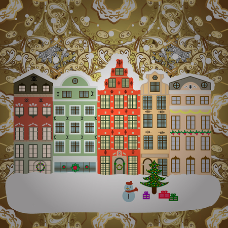 Landscape with nature and houses. Over a background. Nature landscape. Vector illustration. Winter is coming. Winter city with trees, cute houses. Holidays Vector illustration. Illustration