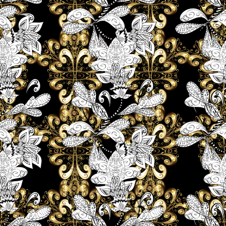 Gold and silver floral pattern.