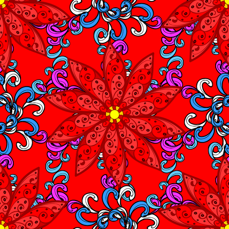 Flower painting raster for t shirt printing. Floral seamless pattern background. Flowers on red, black and blue colors. Vectores