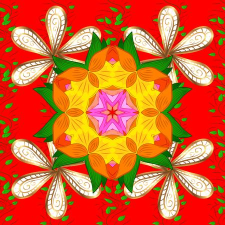 Arabic Vintage decorative ornament. Mandala colored background. Raster Mandala pattern on red, orange and green colors. East, Islam.