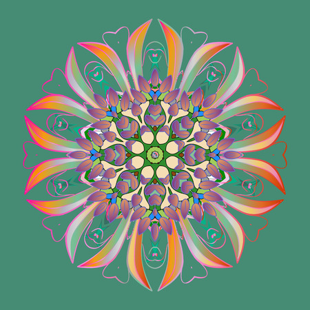Contour green, pink and neutral mandala shaped snowflakes for art therapy style zen drawing. Hand-drawn, stylish doodle in tatto style, fabric design and cards in Raster illustration.