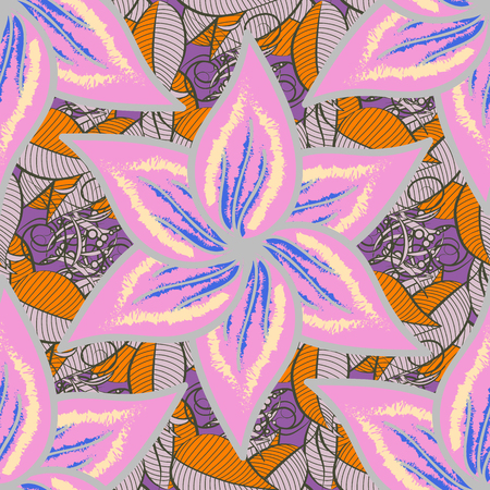 In nice textile style on pink, neutral and green colors. Floral seamless pattern with watercolor flowers. Raster illustration.