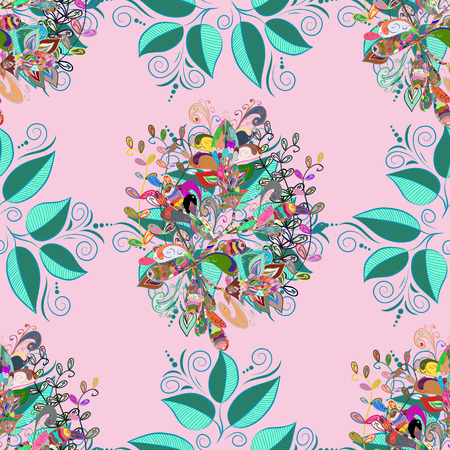 Raster seamless floral pattern with flowers, leaves, decorative elements, splash, blots, drop Hand drawn contour lines and strokes Doodle sketch style, graphic raster drawing illustration.