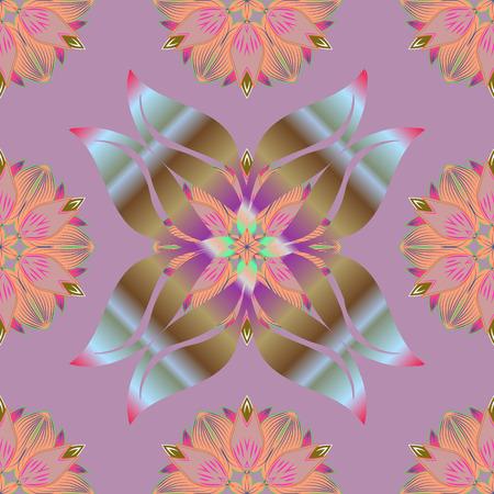 ラスターイラスト。ニュートラル、オレンジ、ブラウンの花。トロピカルシームレスな花柄。