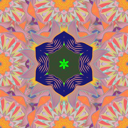 Suave, primavera floral en colores neutros, naranjas y azules. Ilustración de trama. Patrón floral de trama en estilo doodle con flores y hojas. Foto de archivo - 92745630