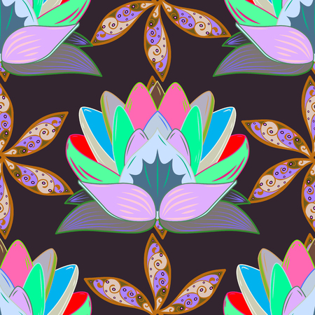 Raster Fashionable fabric pattern. Cute flowers pattern with purple, neutral and green colors. Flat Flower Elements Design. Colour Spring Theme seamless pattern Background.