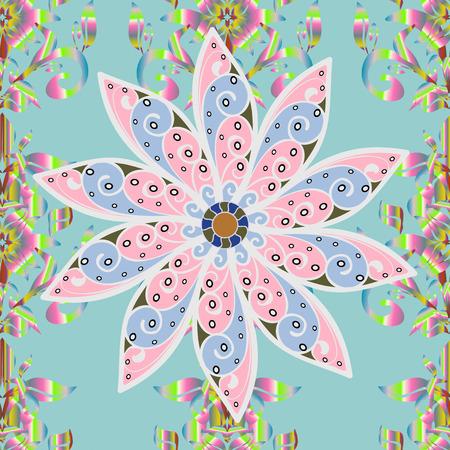 Flowers pattern. Colored  Spring Theme seamless pattern Background. Raster illustration. Seamless Chichi fabric pattern. Flat Flower Elements Design.