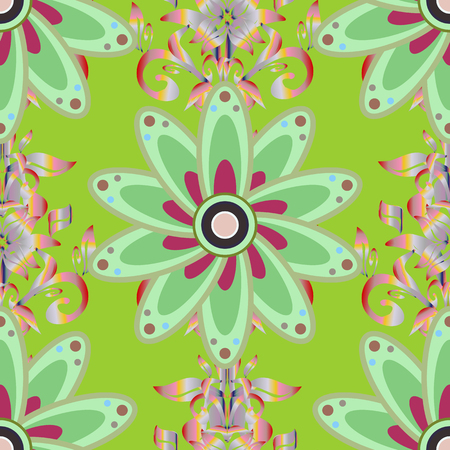 Elegant, bright and seamless green, neutral and pink flower pattern design. It can be used on mug prints, baby apparels, wallpaper, wrapping boxes etc.