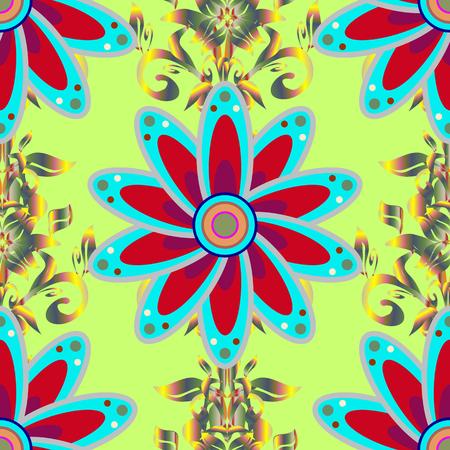 Floral green, blue and red seamless pattern. Vintage outline illustration. Raster Tender fabric pattern. Raster flower print.