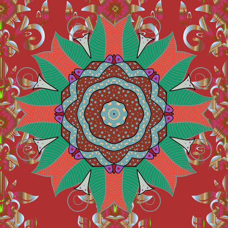 Seamless pattern with colorful paisley, red, brown and green flowers and decorative elements. Vintage retro style. Raster illustration. Seamless background. For print on fabric, textiles, wallpaper.