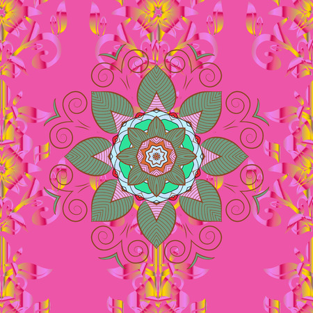 Elegant, bright and seamless pink, green and brown flower pattern design. It can be used on mug prints, baby apparels, wallpaper, wrapping boxes etc. Raster.