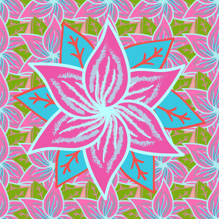 Flowers on pink, neutral and blue colors. Flower painting raster for t-shirt printing. Floral seamless pattern background.