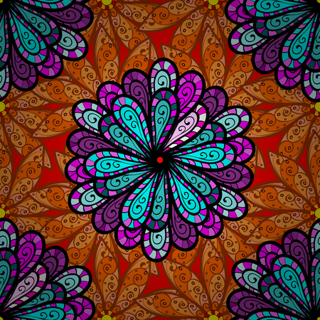Seamless Floral Pattern in Raster illustration. Flowers on black, orange and brown colors.