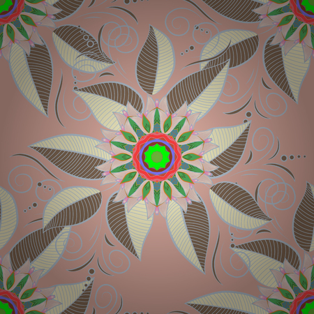 Pattern with spring flowers with branch, on neutral, beige and green colors with flower silhouette.
