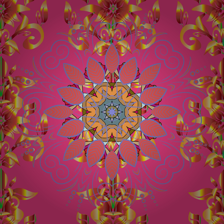 Cute floral pattern in the small flower. Tropical seamless pattern with many pink, violet and orange abstract flowers.