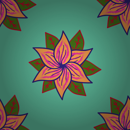 Floral green, orange and violet seamless pattern. Raster flower print. Vintage outline illustration.