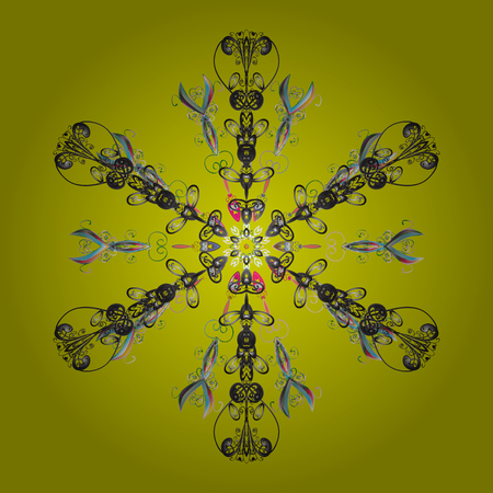 Isolated nice snowflakes on colorful background.Raster illustration. Snowflakes radial yellow, gray and neutral colors.