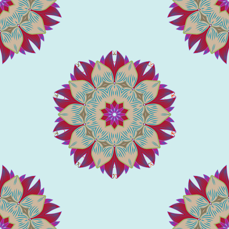 Flowers on neutral, beige and red. Seamless background pattern. Watercolor, hand drawn. Raster stock.