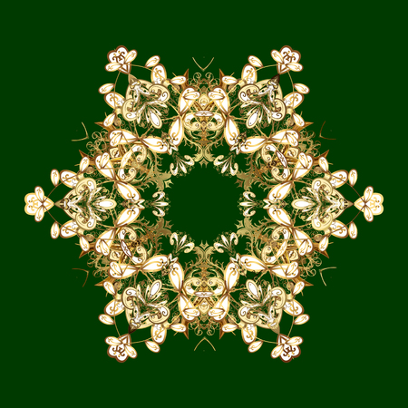 Raster illustration. Snowflakes collection. Fine winter ornament. Isolated of raster green and yellow snowflakes.
