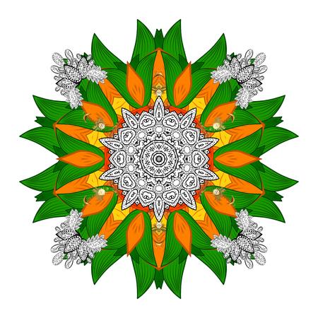 Round ornamental mandala for coloring book Isolated design element Raster illustration.