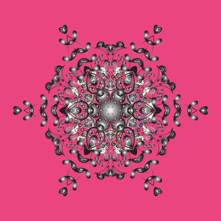 Flat lay. Winter pattern made of snowflake on pink, gray and brown colors. Winter concept. Raster illustration.