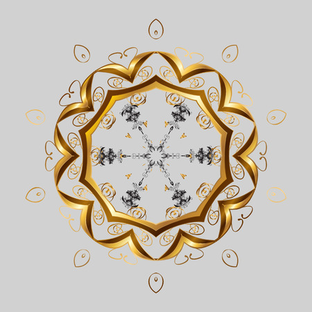New year snowflake. Cute abstract snowflake raster design. Flat snow doodle icons, snow flakes silhouette in gray, brown and yellow colors for christmas banner, cards. Иллюстрация