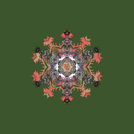 Raster illustration. Snowflake isolated on green, gray and pink colors. Snowflake Icon. Raster illustration.